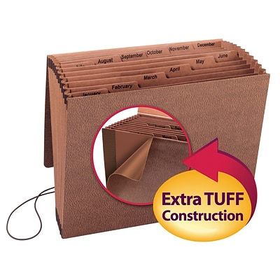 Smead® TUFF Expanding File, Monthly (Jan.-Dec.), 12 Pockets, Flap & Elastic Cord Closure, Letter, Redrope Stock (70388)