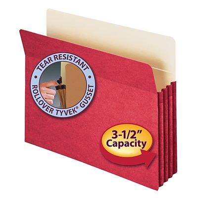 Smead® File Pocket, Straight-Cut Tab, 3-1/2 Expansion, Letter Size, Red (73231)