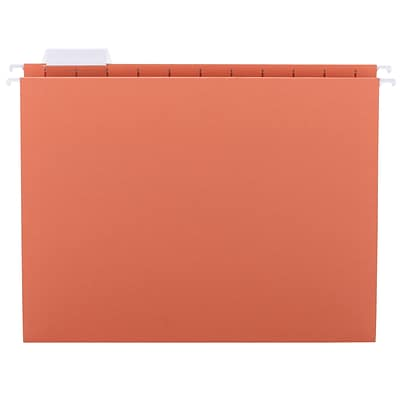 Smead® Adjustable 5-Tab Colored Hanging File Folders, Letter, Orange, 25/Bx (64065)