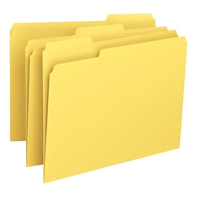 Smead® 3-Tab Colored File Folders, Letter, Yellow, 100/Bx (12943)