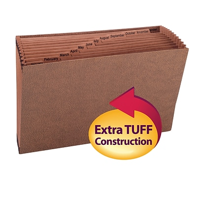 Smead® TUFF Expanding File, Monthly (Jan.-Dec.), 12 Pockets, Legal, Redrope-Printed Stock (70490)