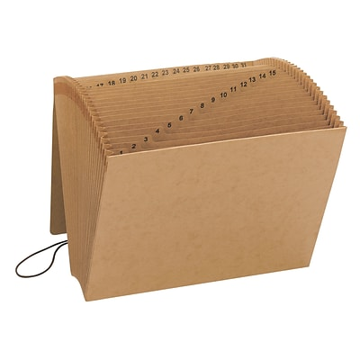 Smead® Expanding File, Daily (1-31), 31 Pockets, Flap & Elastic Cord Closure, Letter, Kraft (70168)