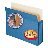 Smead File Pocket, Straight-Cut Tab, 3-1/2 Expansion, Letter Size, Blue (73225)