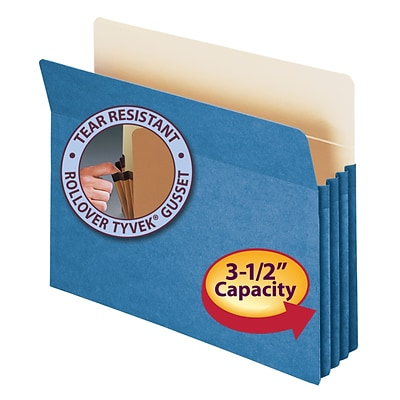 Smead® File Pocket, Straight-Cut Tab, 3-1/2 Expansion, Letter Size, Blue (73225)