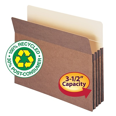Smead 100% Recycled Reinforced Straight Cut File Pockets, 3-1/2 Expansion, Letter, Redrope, 25/Bx (73205)