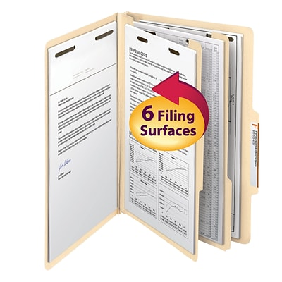 Smead® 2/5-Cut Tab Classification Folders, Right of Center Position, 6-Fasteners, 2-Partitions, Legal, Manila, 10/Bx (19000)