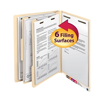 Smead End Tab Classification File Folder, 2 Divider, 2 Expansion, Letter Size, Manila, 10/Box (26835)