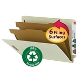 Smead® 100% Recycled End-Tab Classification Folders, Legal, 2 Partition, Gray/Green, 10/Box