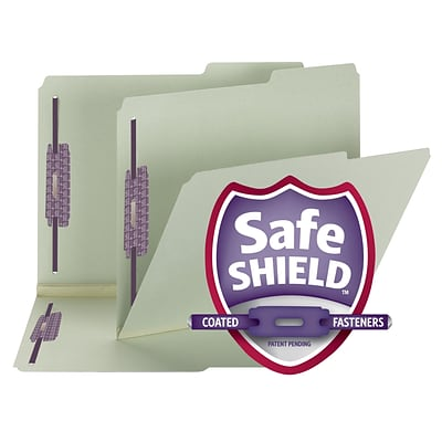 Smead Pressboard File Folder with SafeSHIELD Fasteners, 2/5 Tab, 2 Exp., Letter Size, Gray/Green, 25/Box (14920)