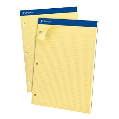 Ampad® 3-Hole Punch Dual Notepad, 8 1/2 x 11 3/4, Narrow Rule, Canary, 100 Sheets/Pad (AMP20246)