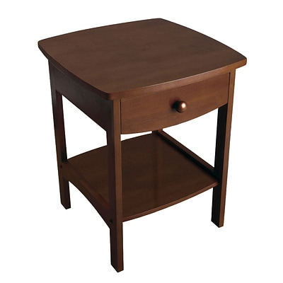Winsome 22 x 18 x 18 Wood Curved End Table/Night Stand With One Drawer, Brown