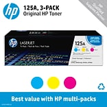HP 125A (CE259A) Cyan/Yellow/Magenta Original LaserJet Toner Cartridges, Multi-pack (3 cart per pack