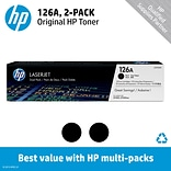HP 126A (CE310AD) Black Original LaserJet Toner Cartridges, Multi-pack (2 cart per pack)