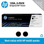 HP 128A (CE320AD) Black Original LaserJet Toner Cartridges, Multi-pack (2 cart per pack)