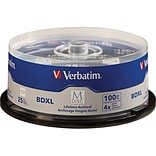 Verbatim® 98914 100GB BD-R XL Recordable Media with Branded Surface, Spindle, 25/Pack