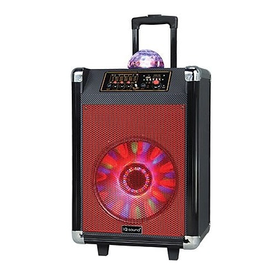 Supersonic® IQ Sound® IQ-3612DJBT Portable Bluetooth DJ Speaker with Disco Ball, Red