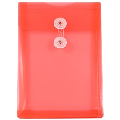 JAM Paper® Plastic Envelopes with Button and String Tie Closure, Open End, 6.25 x 9.25, Red Poly, 12/pack (472B1RE)
