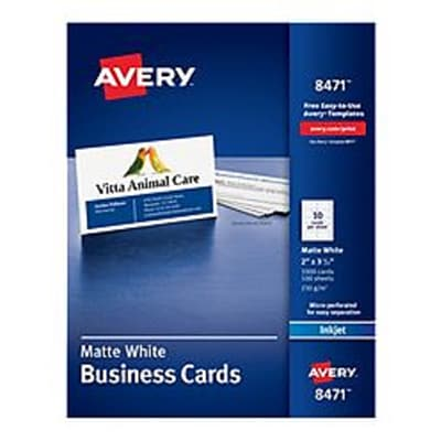 Avery® Inkjet Business Cards, 2 x 3.5, White, 1,000/Box(08471)