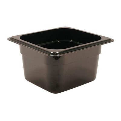 Cambro Camwear 4 Deep Black Food Pan, 6 15/16 L x 6 3/8 W,  6/Pack (79364)