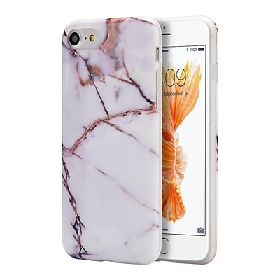 Insten Marble Stone Pattern Texture Visual TPU Rubber Case For Apple iPhone 7/ 8, White / Gold