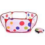Hexagon Polka Dot Childrens Twist Playpen w/ Carry Tote and Safety Meshing for Child Play Tent