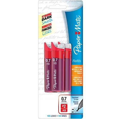 Paper Mate Mechanical Pencil Black Lead Refills, 0.7mm, HB #2, 3 Pack (105 Leads)