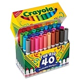 Crayola The Big 40 Washable Markers, Conical Tip, Assorted Ink, 40/Pack (587858)