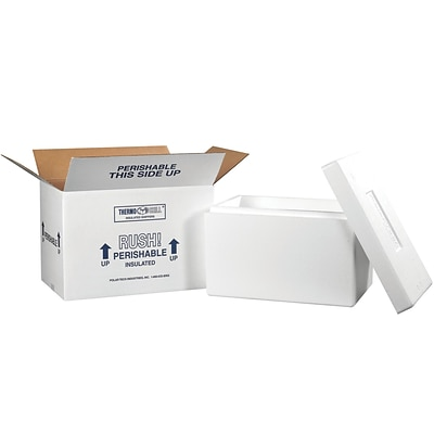 17 x 10 x 10.5 Insulated Shipping Containers, White, Each (246C)