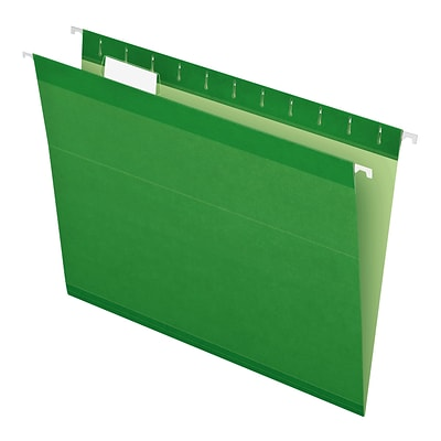 Pendaflex® Reinforced Hanging File Folders, 5 Tab Positions, Letter Size, Bright Green, 25/Box (4152 1/5 BGR)