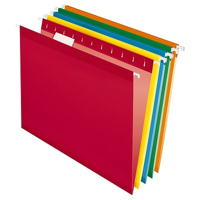 Pendaflex® Recycled Colored Hanging File Folders, Letter Size,  Assorted Bright Colors