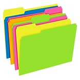 Pendaflex Glow Twisted 3-Tab File Folder, Letter Size, Multicolor, 12/Pack (40526)