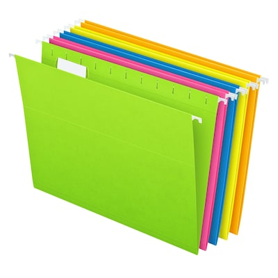 Pendaflex® Glow 5-Tab Hanging File Folders, Letter Size, Multicolor, 25/Box (81672)