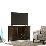 Simpli Home Burlington Tall Wooden TV Stand; Espresso Brown