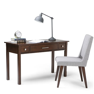 Simpli Home Avalon Solid Wood Writing Office Desk; Tobacco Brown
