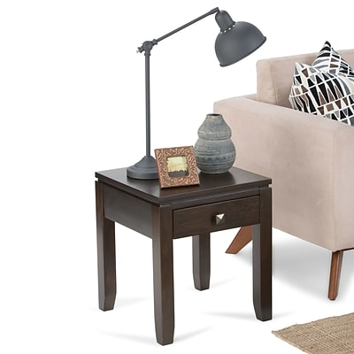 Simpli Home Cosmopolitan 20H x 20W x 18 1/2L Solid Wood End Table; Coffee Brown