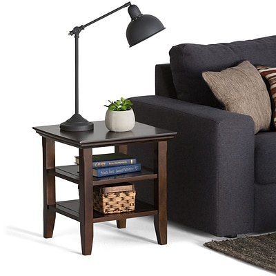 Simpli Home Acadian 20H x 19W x 19L Solid Wood End Table; Tobacco Brown
