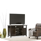 Simpli Home Amherst Wooden TV Stand; Dark American Brown