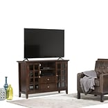 Simpli Home Acadian Tall Wooden TV Stand; Dark Tobacco Brown