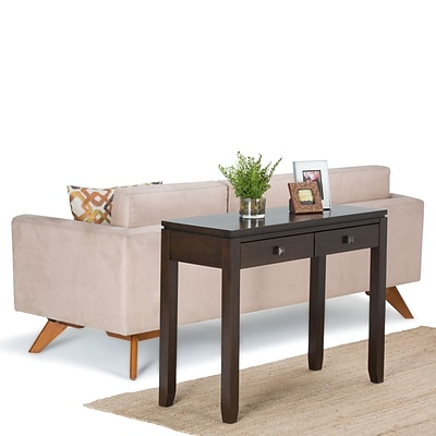Simpli Home Cosmopolitan 29 1/2H x 38W x 15L Solid Wood Console Table; Coffee Brown