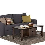 Simpli Home Acadian 18 1/2H x 47 1/2W x 24L Solid Wood Coffee Table; Tobacco Brown
