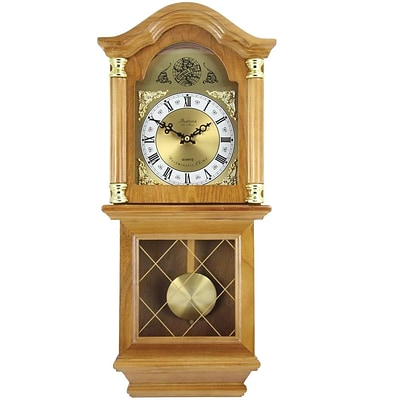 Bedford Analog 26 Golden Oak Classic Chiming Wall Clock (BED-7074)