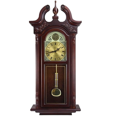 Bedford Analog 38 Cherry Oak Grand Antique Colonial Chiming Wall Clock (BED-7710)