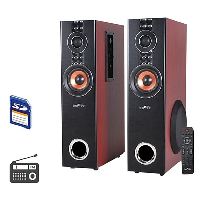 BeFree Sound 75 W 2.1 Channel Powered Dual Tower Bluetooth Speaker, Wood (BFS-T110W-BR-BNDL)