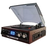 Boytone™ 3-Speed Stereo Turntable with AM-FM Radio/Digital Display, Cherry Wood (BT-17DJM-C)