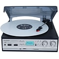 Boytone™ 3-Speed Stereo Turntable with 2 Extra Ceramic Needles, Silver (Bt-17DJS)