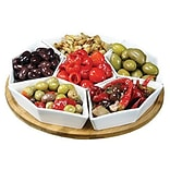 Elama® Signature 12 7 Piece Lazy Susan Appetizer and Condiment Server Set, White (93596458M)