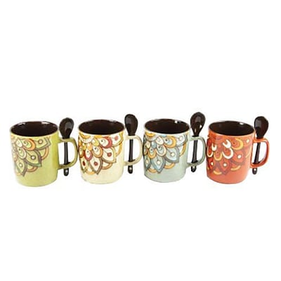 Gibson Mr. Coffee® Retro Cafe 104357.08 Assorted 14 oz. Coffee Mug with Spoon Set