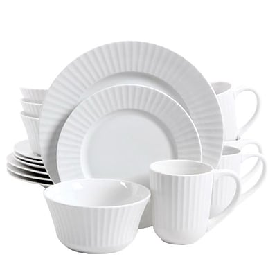 Gibson Home Excella 16 Piece Porcelain Dinnerware Set, White (105964.16)