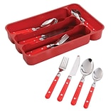 Gibson Home Casual Living Stainless Steel/Polypropylene 24 Piece Flatware Set, Red, 69560.24