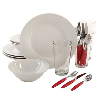 Gibson Home Delightful Dining 24 Piece Dinnerware Combo Set, White (92586.24)